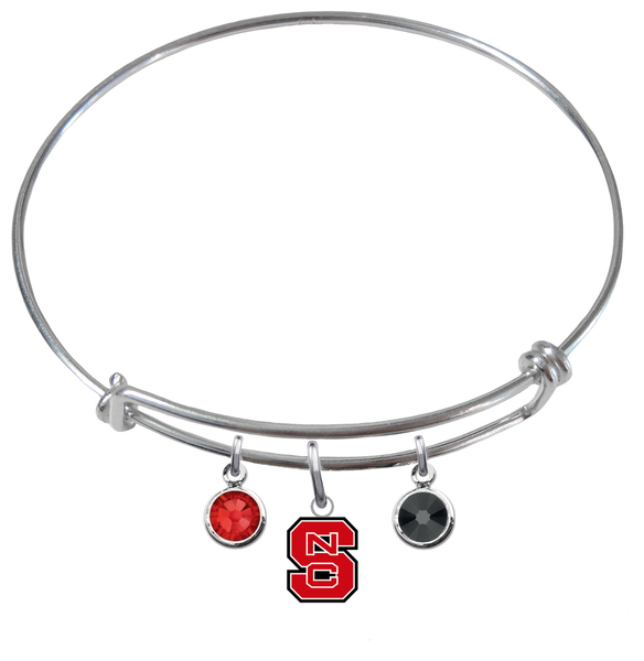 North Carolina State Wolfpack NCAA Expandable Wire Bangle Charm Bracelet