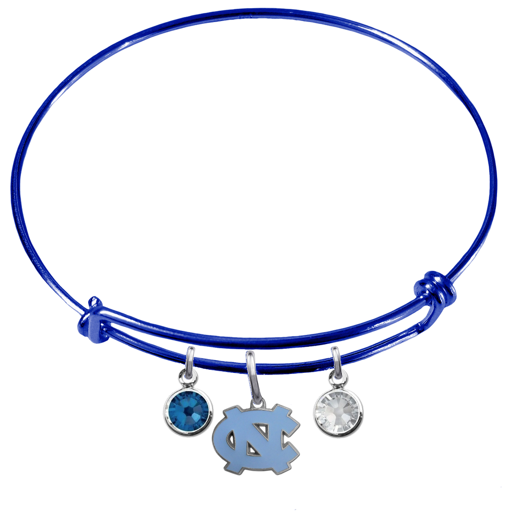 North Carolina Tar Heels BLUE Color Edition Expandable Wire Bangle Charm Bracelet