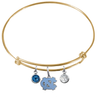 North Carolina Tar Heels GOLD Color Edition Expandable Wire Bangle Charm Bracelet
