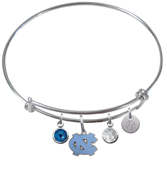 North Carolina Tar Heels Baseball Expandable Wire Bangle Charm Bracelet