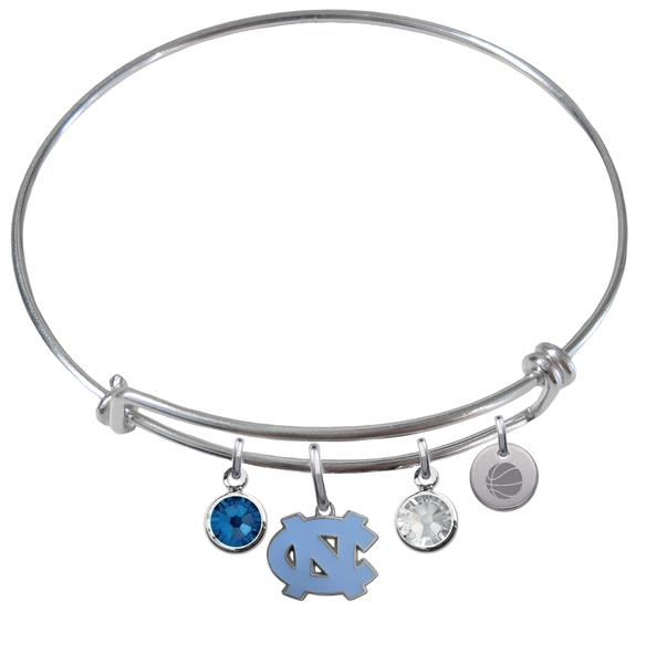 North Carolina Tar Heels Basketball Expandable Wire Bangle Charm Bracelet