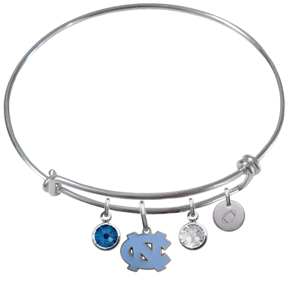 North Carolina Tar Heels Football Expandable Wire Bangle Charm Bracelet