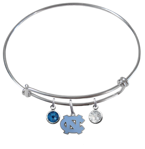 North Carolina Tar Heels NCAA Expandable Wire Bangle Charm Bracelet