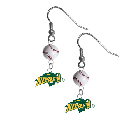 North Dakota State Bison NCAA Baseball Dangle Earrings