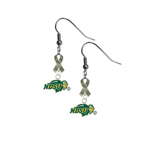 North Dakota State Bison Salute to Service Camouflage Camo Ribbon Dangle Earrings