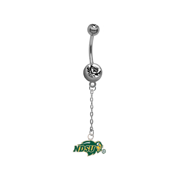 North Dakota State Bison Dangle Chain Belly Button Navel Ring