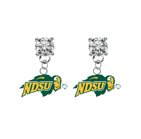 North Dakota State Bison CLEAR Swarovski Crystal Stud Rhinestone Earrings