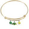 North Dakota State Bison GOLD Color Edition Expandable Wire Bangle Charm Bracelet