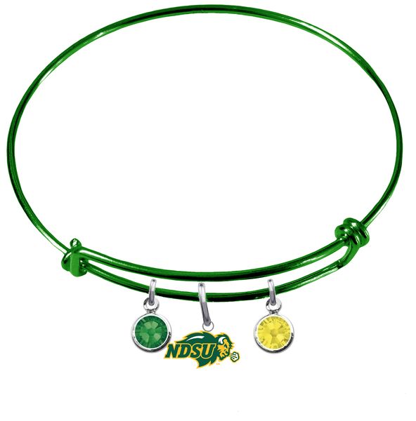 North Dakota State Bison GREEN Color Edition Expandable Wire Bangle Charm Bracelet