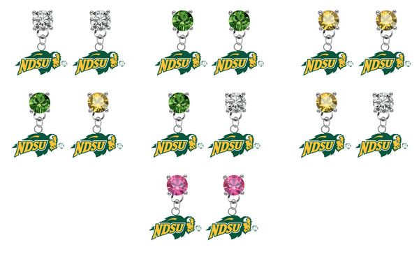 North Dakota State Bison NCAA Swarovski Crystal Stud Rhinestone Earrings