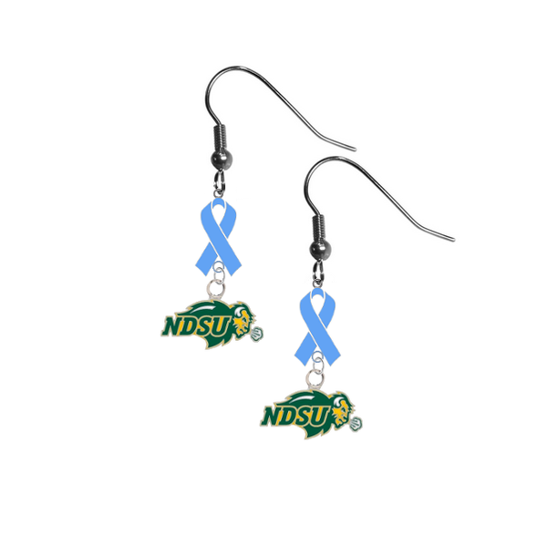 North Dakota State Bison Prostate Cancer Awareness Light Blue Ribbon Dangle Earrings