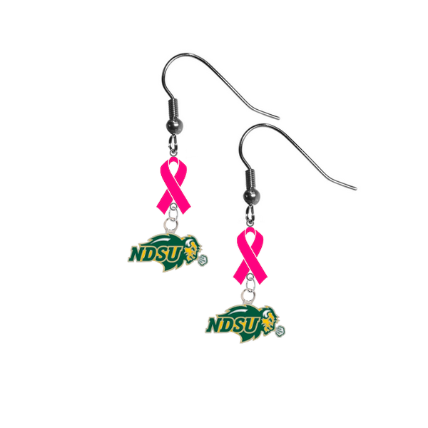 North Dakota State Bison Breast Cancer Awareness Hot Pink Ribbon Dangle Earrings