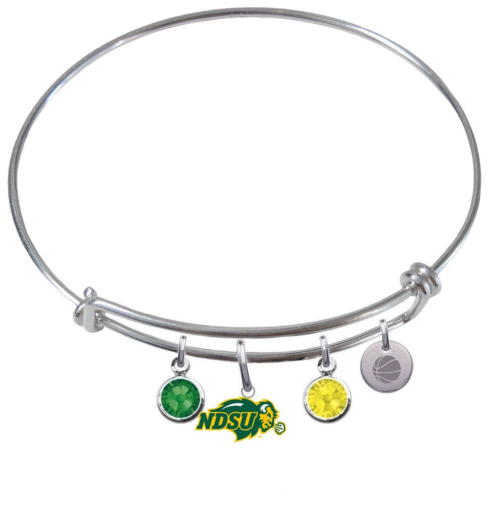 North Dakota State Bison Basketball Expandable Wire Bangle Charm Bracelet