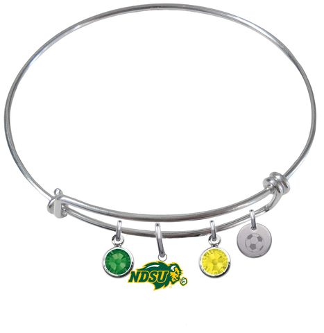 North Dakota State Bison Soccer Expandable Wire Bangle Charm Bracelet