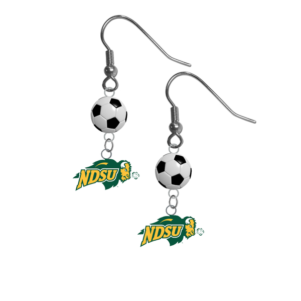 North Dakota State Bison NCAA Soccer Dangle Earrings