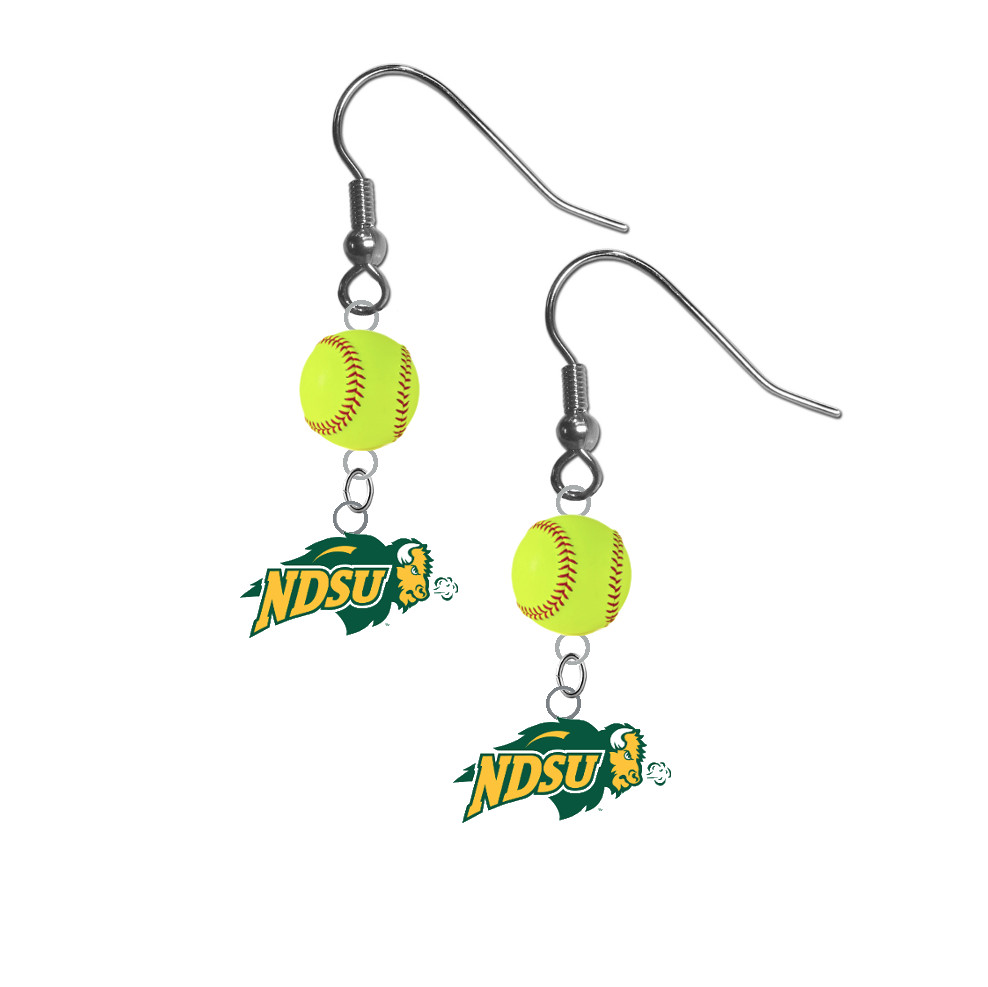 North Dakota State Bison NCAA Fastpitch Softball Dangle Earrings