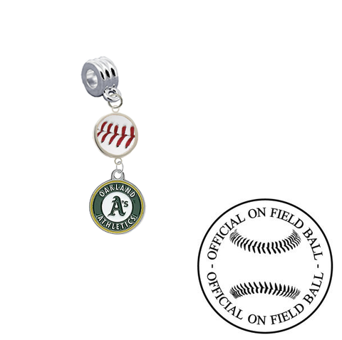Oakland Athletics On Field Baseball Universal European Bracelet Charm (Pandora Compatible)