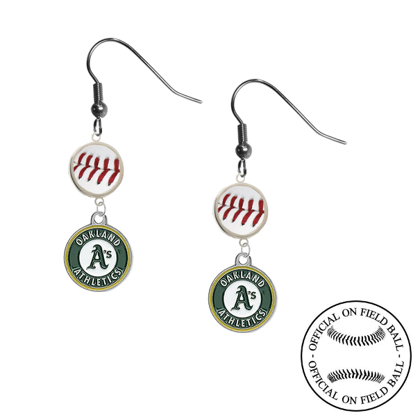 Oakland Athletics MLB Authentic Rawlings On Field Leather Baseball Dangle Earrings