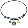 Oakland Athletics Black MLB Expandable Wire Bangle Charm Bracelet