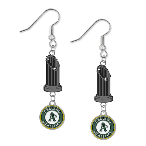 Oakland Athletics MLB World Series Trophy Dangle Earrings