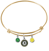 Oakland Athletics Gold MLB Expandable Wire Bangle Charm Bracelet
