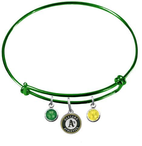 Oakland Athletics Green MLB Expandable Wire Bangle Charm Bracelet