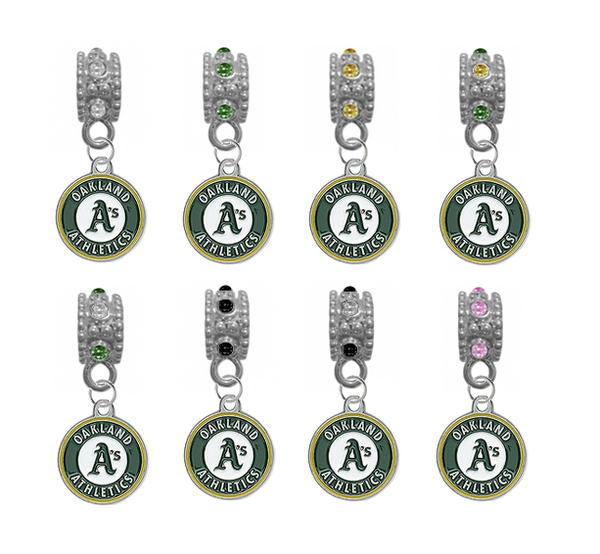 Oakland Athletics MLB Baseball Crystal Rhinestone European Bracelet Charm