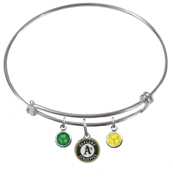 Oakland Athletics MLB Expandable Wire Bangle Charm Bracelet