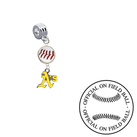 Oakland Athletics 2 On Field Baseball Universal European Bracelet Charm (Pandora Compatible)