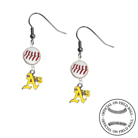 Oakland Athletics Style 2 MLB Authentic Rawlings On Field Leather Baseball Dangle Earrings