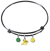Oakland Athletics Style 2 Black MLB Expandable Wire Bangle Charm Bracelet