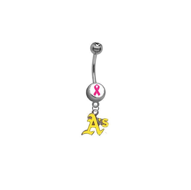 Oakland Athletics Style 2 Breast Cancer Awareness Belly Button Navel Ring