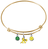 Oakland Athletics Style 2 Gold MLB Expandable Wire Bangle Charm Bracelet