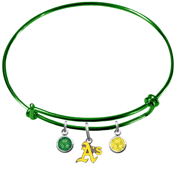 Oakland Athletics Style 2 Green MLB Expandable Wire Bangle Charm Bracelet