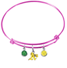 Oakland Athletics Style 2 Pink MLB Expandable Wire Bangle Charm Bracelet
