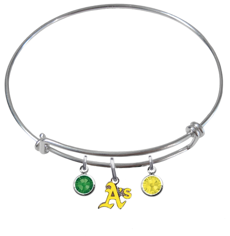 Oakland Athletics Style 2 MLB Expandable Wire Bangle Charm Bracelet
