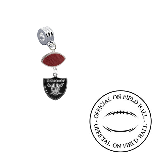 Oakland Raiders On Field Football Universal European Bracelet Charm (Pandora Compatible)