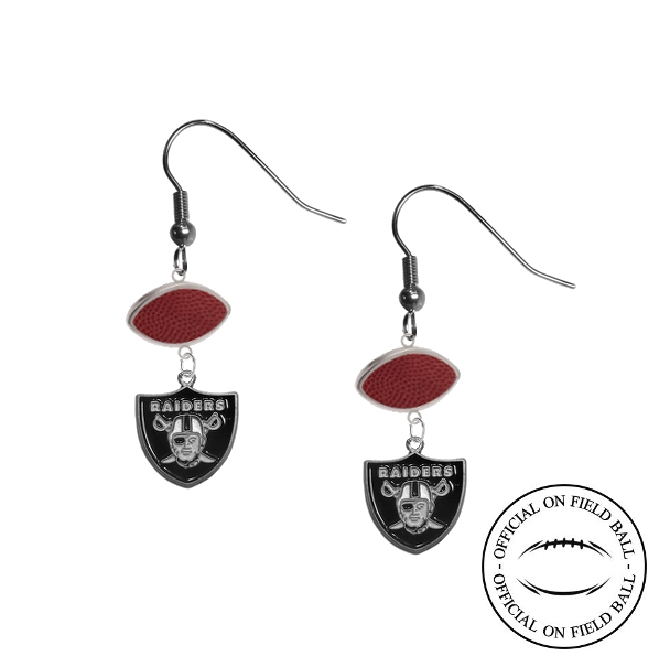 Oakland Raiders NFL Authentic Official On Field Leather Football Dangle Earrings