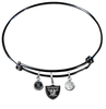 Oakland Raiders Black NFL Expandable Wire Bangle Charm Bracelet