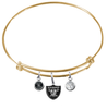 Oakland Raiders Gold NFL Expandable Wire Bangle Charm Bracelet