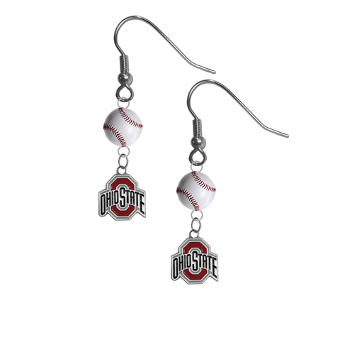 Ohio State Buckeyes NCAA Baseball Dangle Earrings