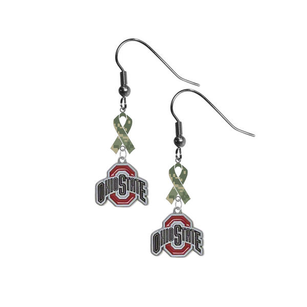 Ohio State Buckeyes Salute to Service Camouflage Camo Ribbon Dangle Earrings