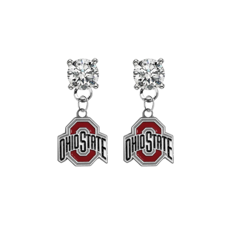 Ohio State Buckeyes CLEAR Swarovski Crystal Stud Rhinestone Earrings