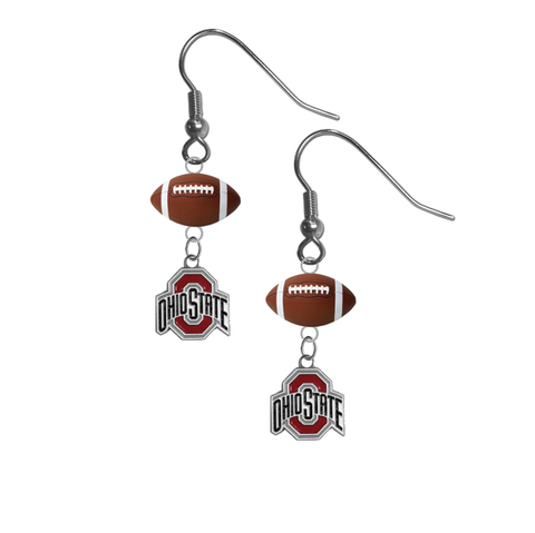 Ohio State Buckeyes NCAA Football Dangle Earrings