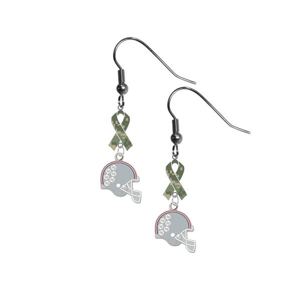 Ohio State Buckeyes Football Helmet Salute to Service Camouflage Camo Ribbon Dangle Earrings