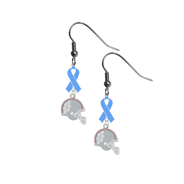 Ohio State Buckeyes Football Helmet Prostate Cancer Awareness Light Blue Ribbon Dangle Earrings