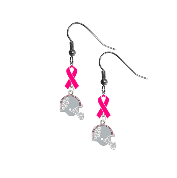 Ohio State Buckeyes Football Helmet Breast Cancer Awareness Hot Pink Ribbon Dangle Earrings