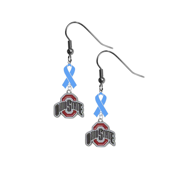 Ohio State Buckeyes Prostate Cancer Awareness Light Blue Ribbon Dangle Earrings