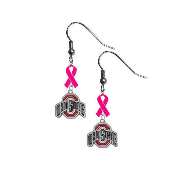 Ohio State Buckeyes Breast Cancer Awareness Hot Pink Ribbon Dangle Earrings