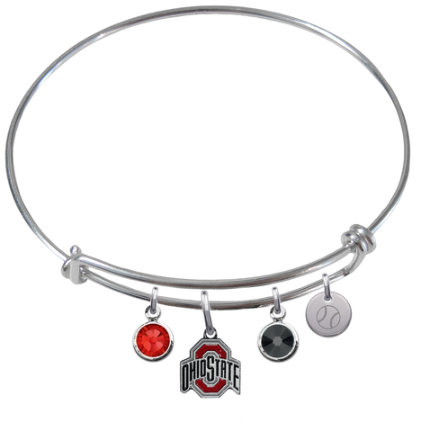 Ohio State Buckeyes Baseball Expandable Wire Bangle Charm Bracelet